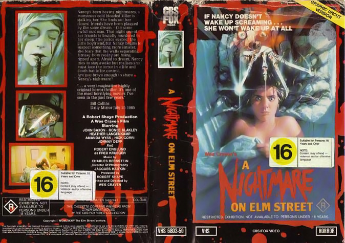 A Nightmare on Elm Street VHS (Australia)