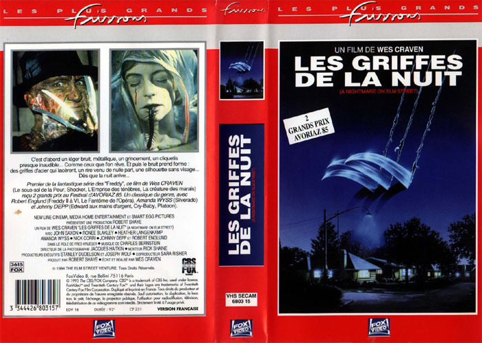A Nightmare on Elm Street VHS (France)