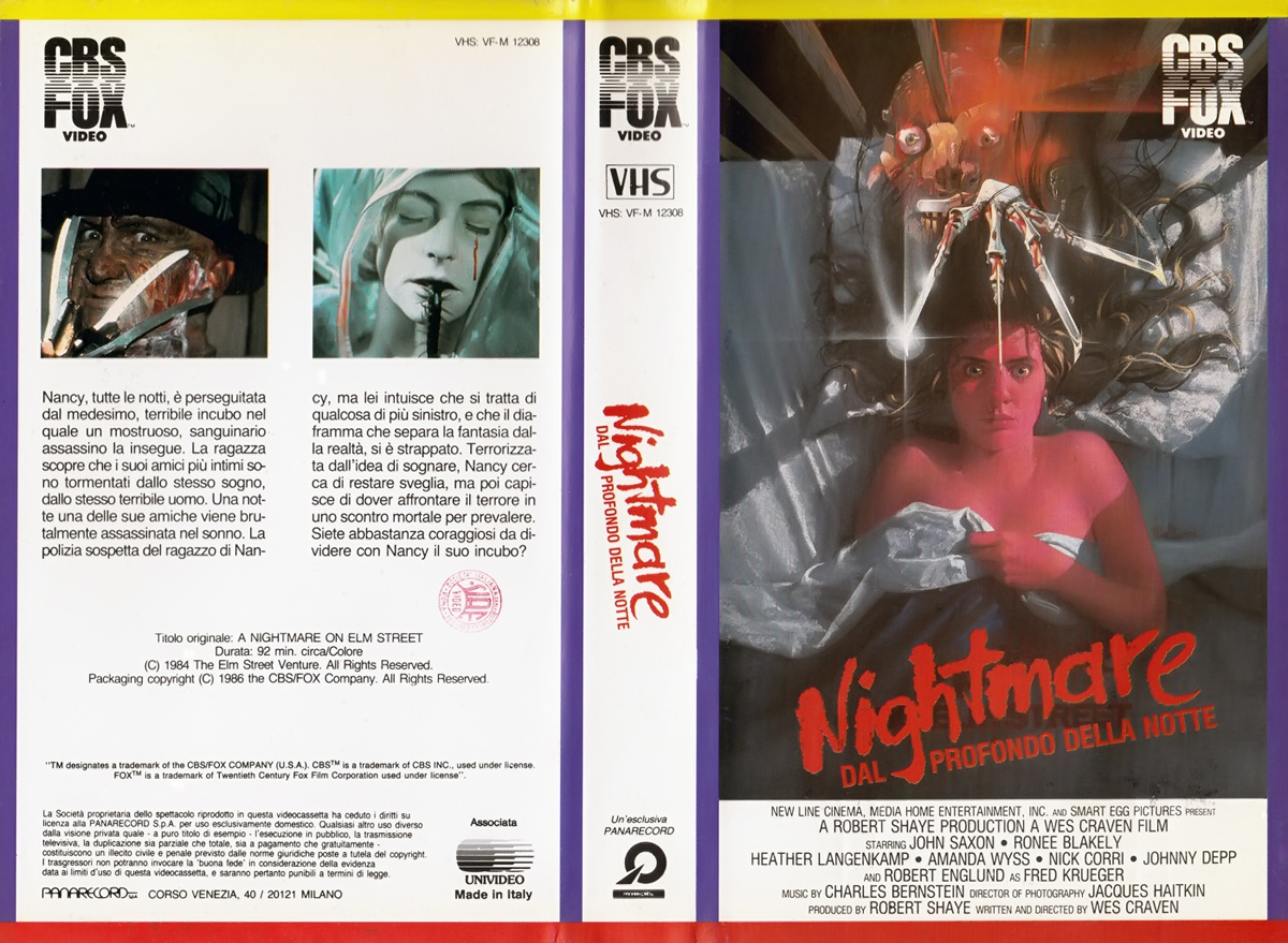 A Nightmare on Elm Street VHS (Italy)