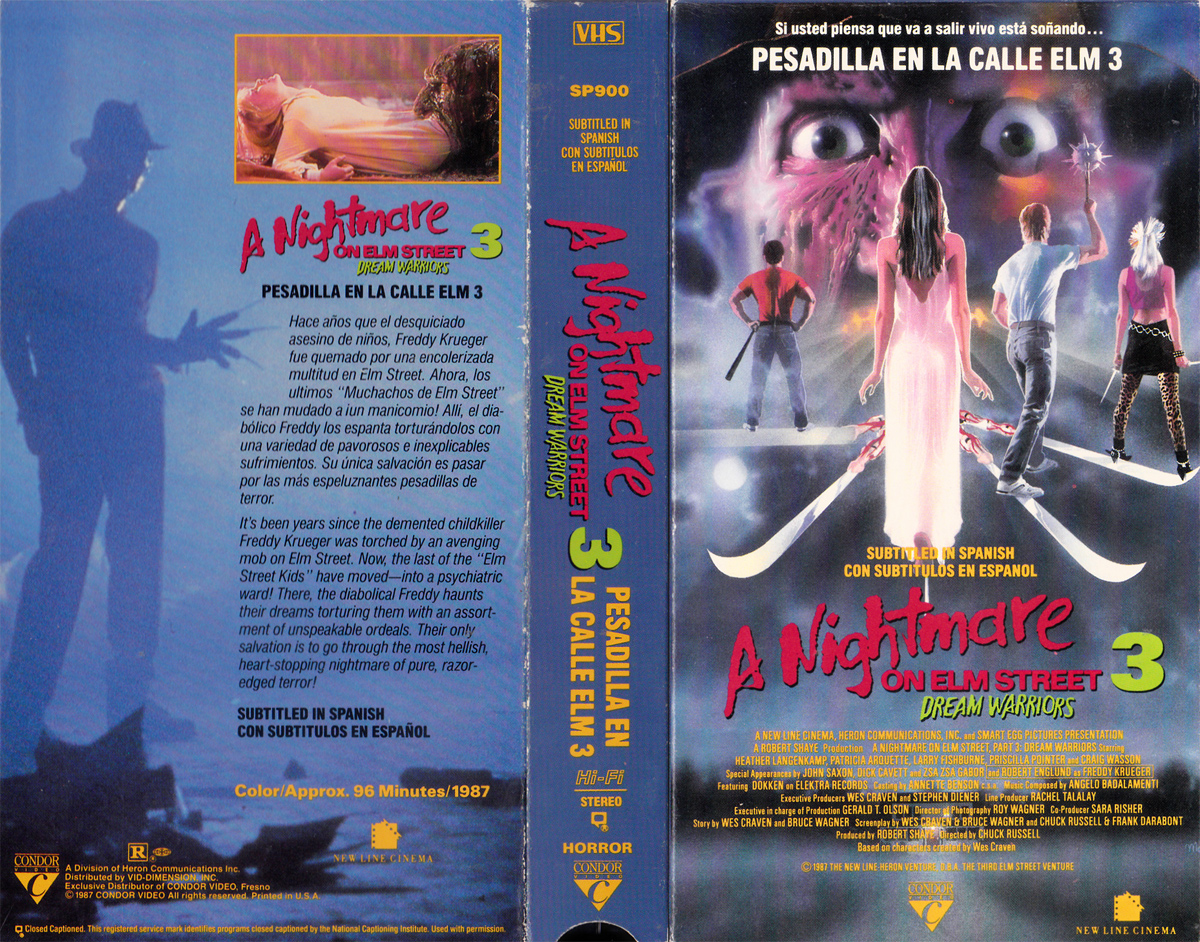 A Nightmare on Elm Street 3: Dream Warriors VHS (Subtitled in Spanish)