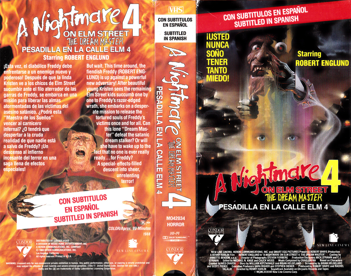 A Nightmare on Elm Street 4: The Dream Master VHS (Subtitled in Spanish)