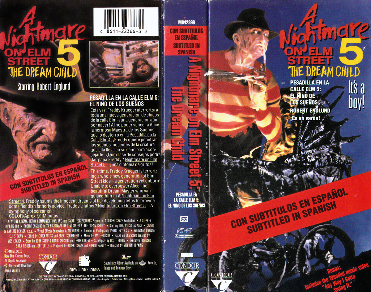 A Nightmare on Elm Street 5: The Dream Child VHS (Subtitled in Spanish)