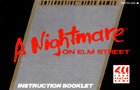 A Nightmare on Elm Street Nintendo Game Instruction Booklet