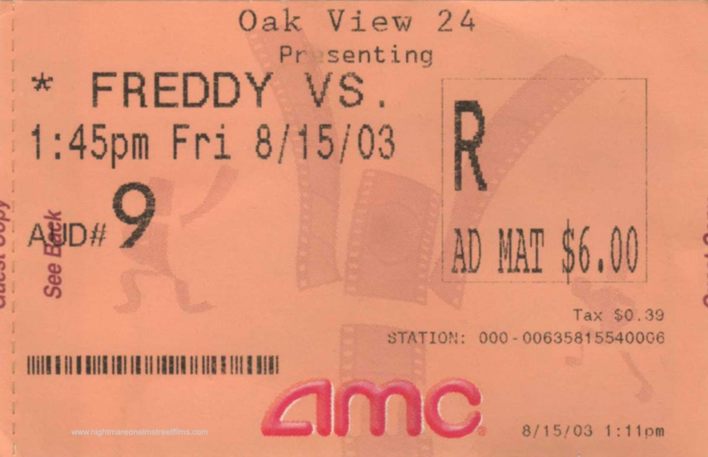 Freddy vs. Jason Opening Day Ticket Stub
